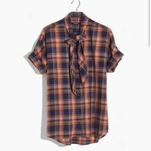 Madewell short sleeve plaid tie neck junipero l